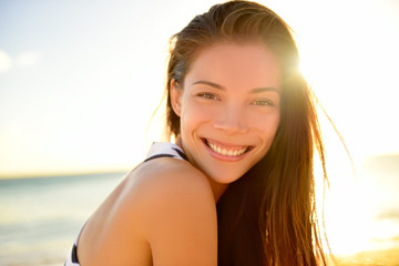 Summer beach pretty woman smiling happy portrait