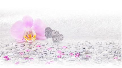 Herzen, Orchidee, Hintergrund