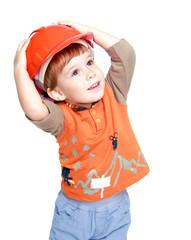 Happy little boy in the construction helmet.