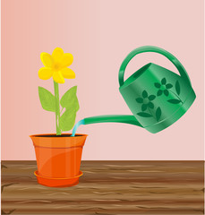 Watering  flower illustration