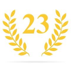Lauriers 23 gold sur fond blanc