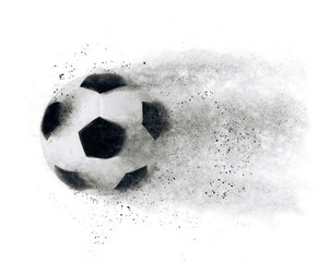 Isolated football soccer ball exploding