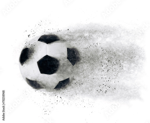 canvas print picture Isolated football soccer ball exploding