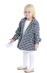 Charming girl in a checkered coat.