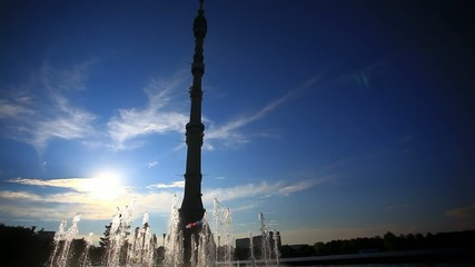 Ostankino TV tower in Moscow. Fountain on foreground and sunset