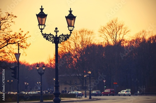 canvas print picture Sunset in Berlin
