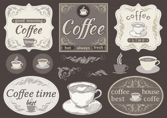 Vector Vintage labels at retro style. Coffee time