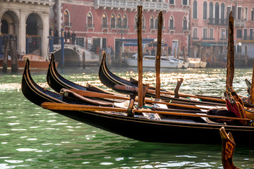Gondolas floating on Grand Canal in Venice. Italy