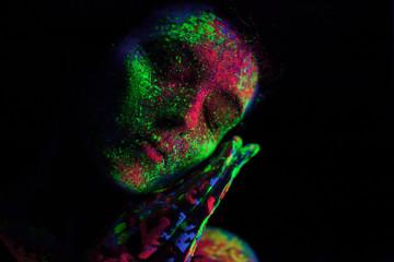 fluorescent paint abstract studio half headshot