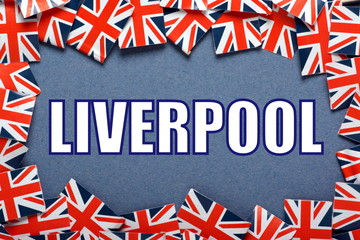 The title Liverpool with a border of Union Jack Flags