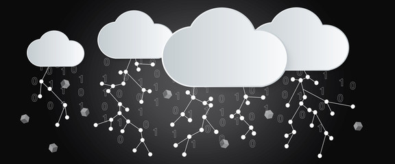 Big Data Storm, cutout paper clouds and binary numbers