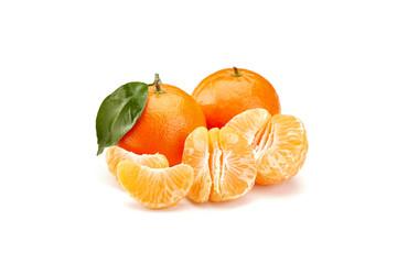 mandarines on white background