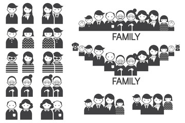 Various People Symbol Icons Couple and Family Set