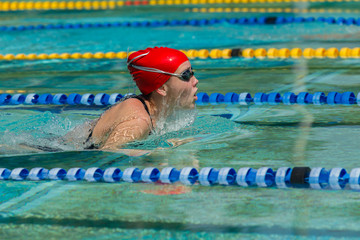 Girl Swimming Race