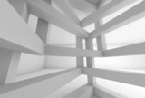 3d background. Internal space of white braced construction - 78261155