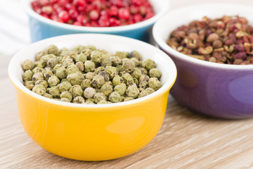 Peppercorns - Green, szechuan and pink dried peppercorns