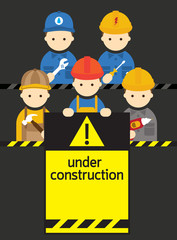 Worker, Craftsman with Under Construction Sign