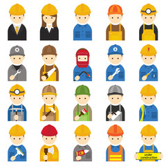 Worker, Craftsman, Symbol Icons Set