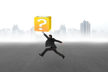 Jumping businessman hitting 3d question mark box with cityscape
