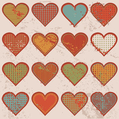 Grunge retro background with hearts
