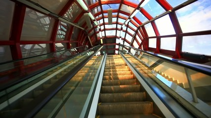 Glass roof structure in metro. Moscow escalator. Russia. HD