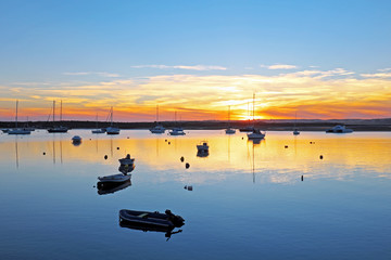 Harbor from Alvor in Portugal at twilight