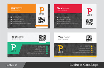 Letter P logo corporate business card