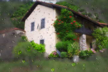Raindrops on a background of the house
