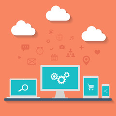 Cloud computing flat vector illustration.
