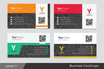 Letter Y logo corporate business card