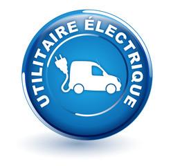 utilitaire électrique sur bouton bleu