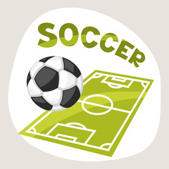 Sports background with soccer symbols.