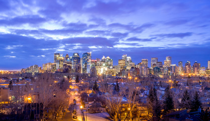 Skyscrapers in the urban core at sunrise in Calgary