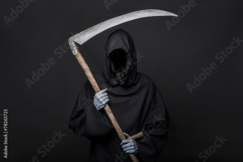 Death reaper over black background. Halloween Poster