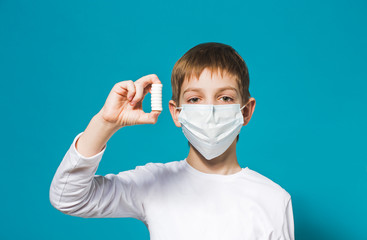 Boy protection mask holding pills
