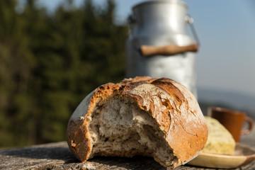 Rustikales Brot mit Milchkanne in der Natur