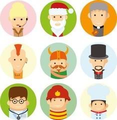 Набор векторных милые значки характер аватара