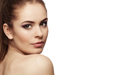Cute female portrait with healthy skin and professional makeup