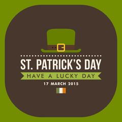 St. Patricks Day card design. Vintage holiday badge
