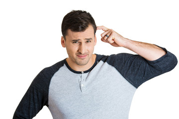 clueless puzzled man thinking deeply scratching head