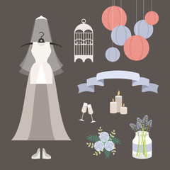 Vintage set of vector wedding illustrations