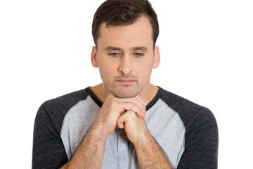 Closeup headshot sad unhappy man