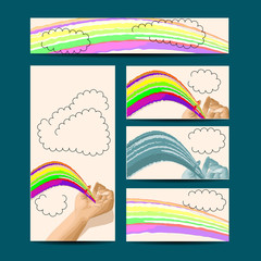 template with hand and rainbow