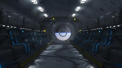 Futuristic space bay and seats