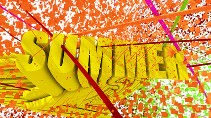 Summer 3d text colorful design