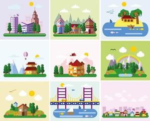 Набор различных пейзажей в плоский стиль - городской, сельской,