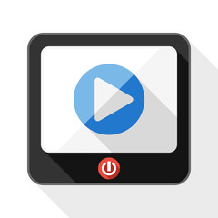 TV flat icon with play button and long shadow on white backgroun