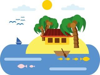 Курортный пляжный пейзажный фон, векторные