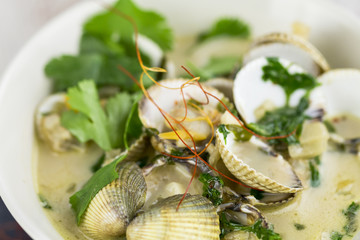Bowl of delicious savory seafood ragout