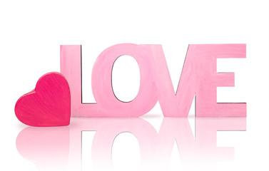 """Pink word """"love"""" with a box in the shape of heart"""